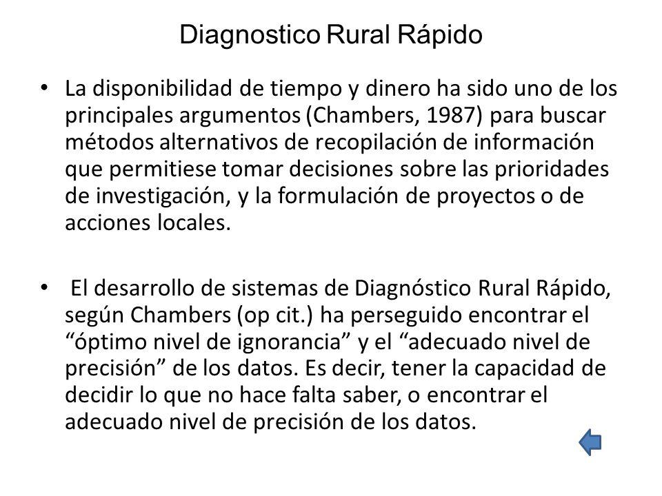 Diagnostico Rural Rápido La disponibilidad de tiempo y dinero ha sido uno de los principales argumentos (Chambers, 1987) para buscar métodos alternati