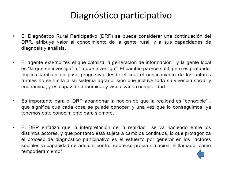 Diagnóstico participativo El Diagnóstico Rural Participativo (DRP) se puede considerar una continuación del DRR, atribuye valor al conocimiento de la