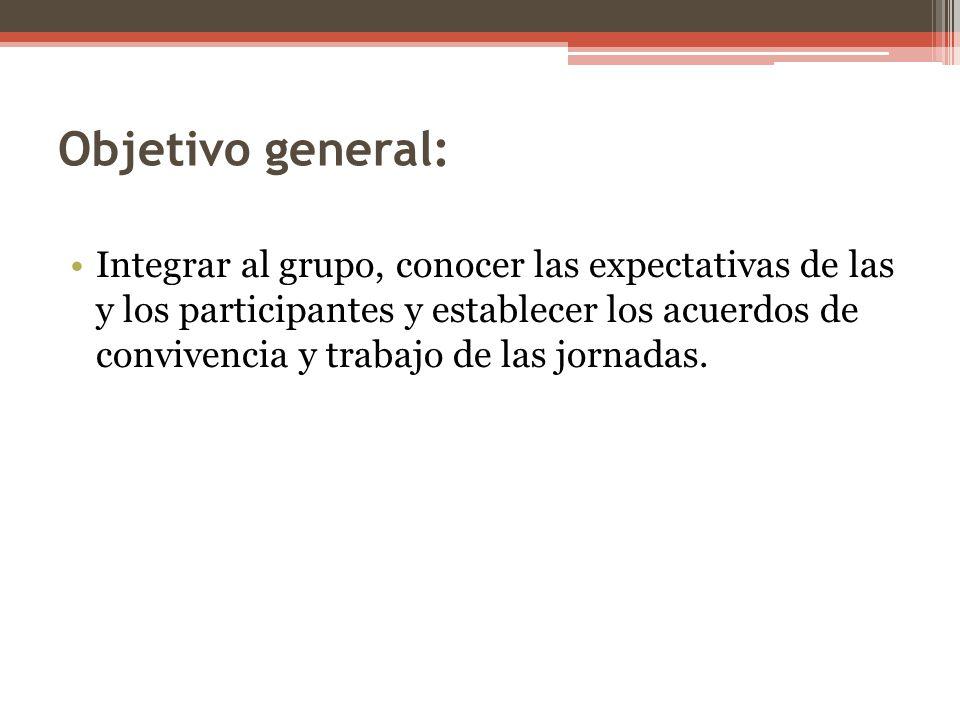 Objetivo general: Integrar al grupo, conocer las expectativas de las y los participantes y establecer los acuerdos de convivencia y trabajo de las jor