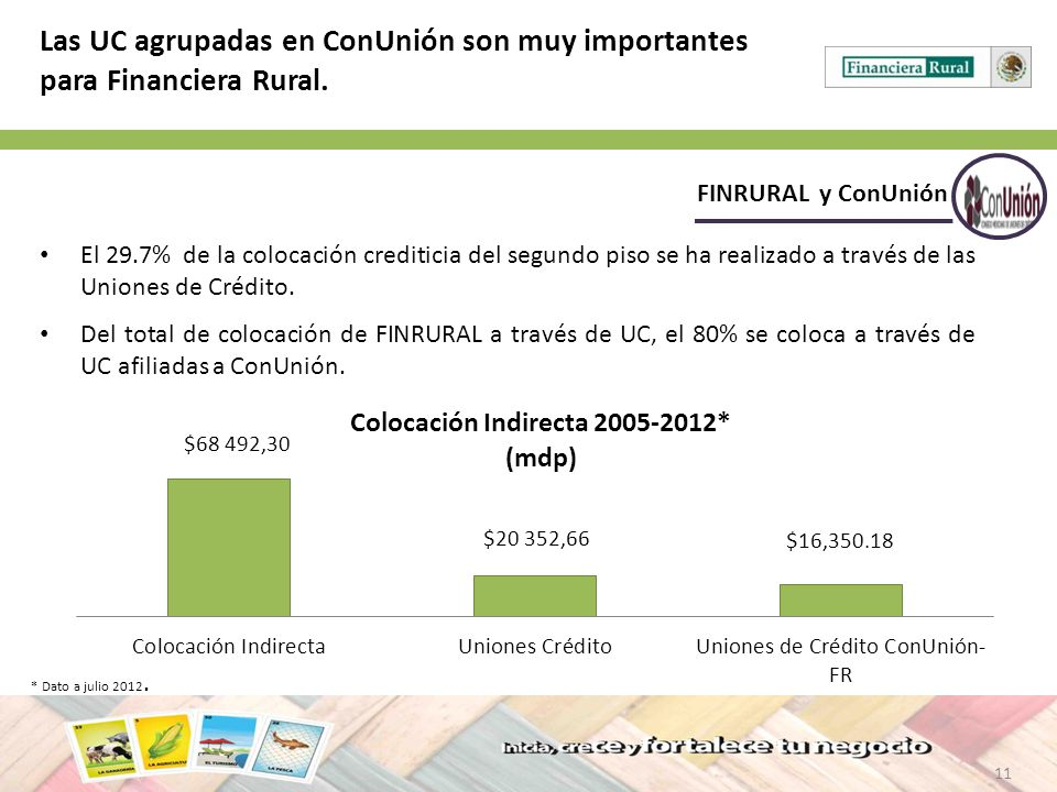 11 FINRURAL y ConUnión Las UC agrupadas en ConUnión son muy importantes para Financiera Rural. El 29.7% de la colocación crediticia del segundo piso s