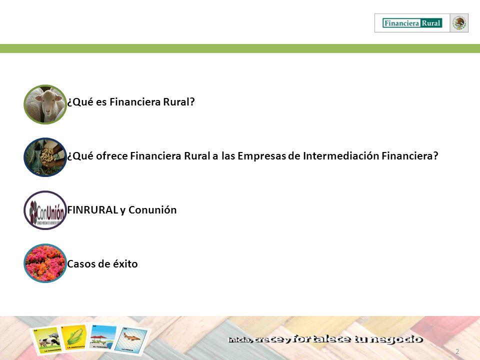 2 ¿Qué es Financiera Rural? ¿Qué ofrece Financiera Rural a las Empresas de Intermediación Financiera? FINRURAL y Conunión Casos de éxito 2
