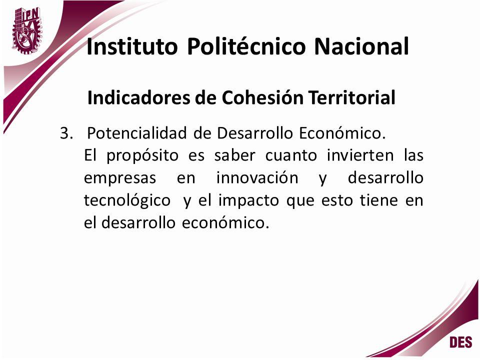 Instituto Politécnico Nacional Indicadores de Cohesión Territorial 4.Impacto en el ente económico y el medio social en el que se desenvuelve el egresado de las escuelas de Nivel Superior.