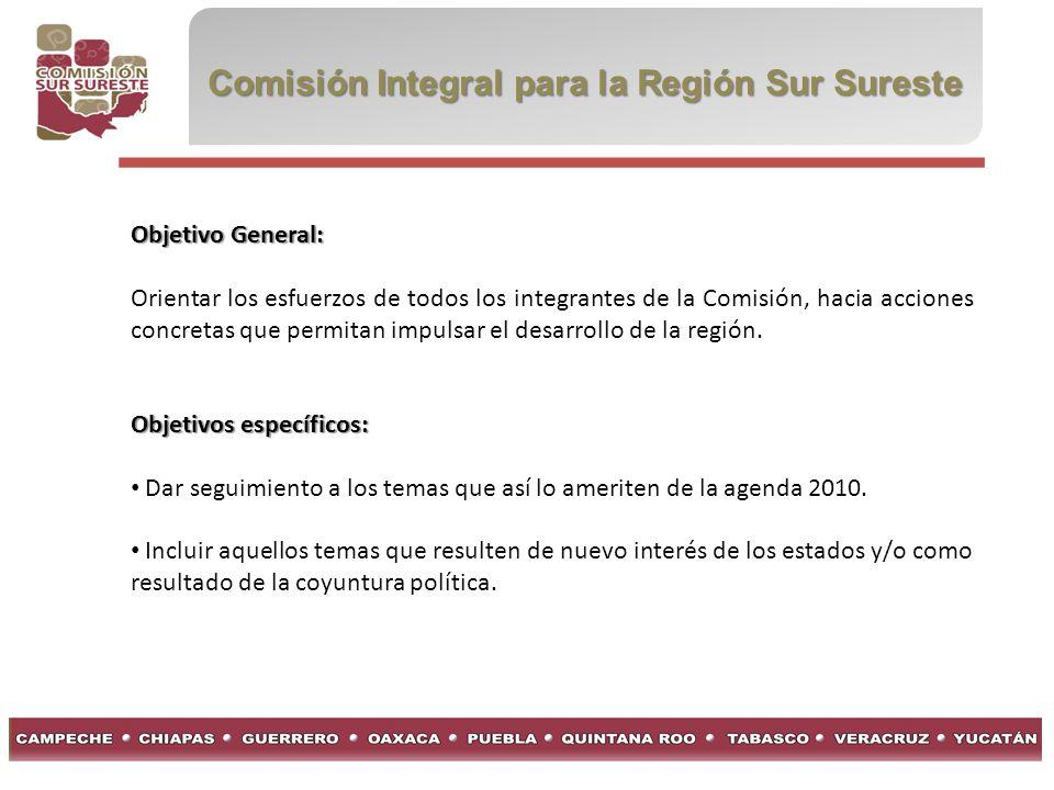 Comisión Integral para la Región Sur Sureste Objetivo General: Orientar los esfuerzos de todos los integrantes de la Comisión, hacia acciones concreta
