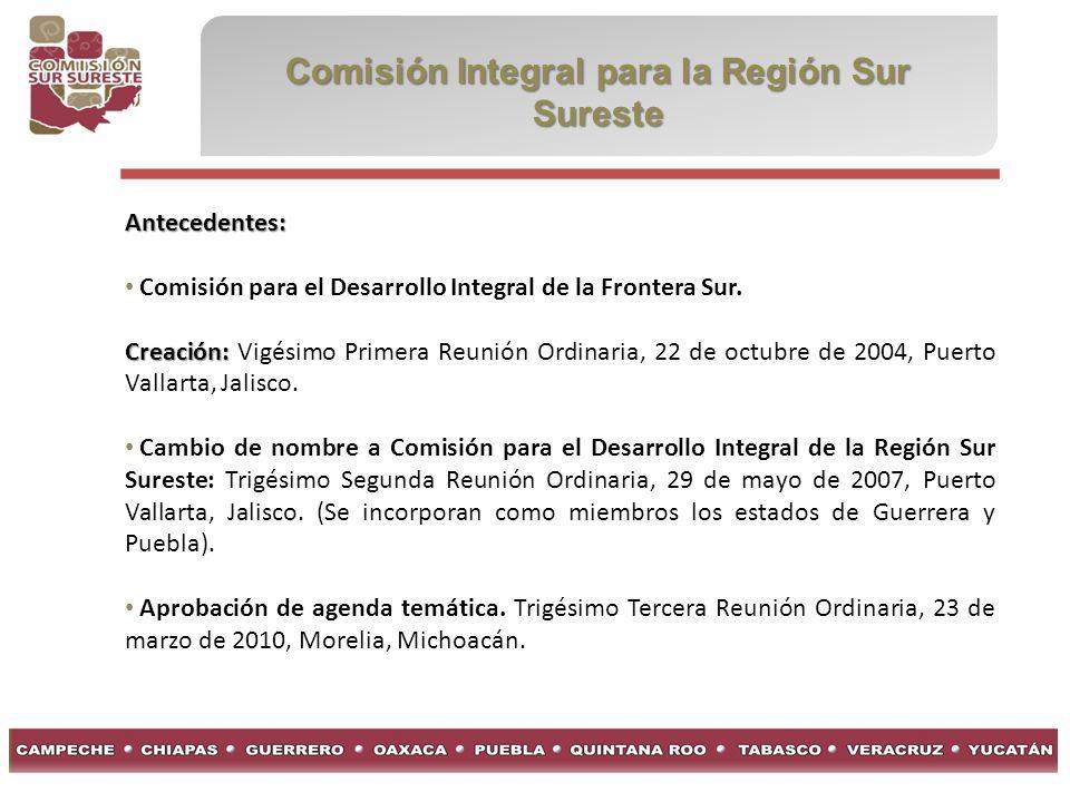 Comisión Integral para la Región Sur Sureste Antecedentes: Comisión para el Desarrollo Integral de la Frontera Sur.