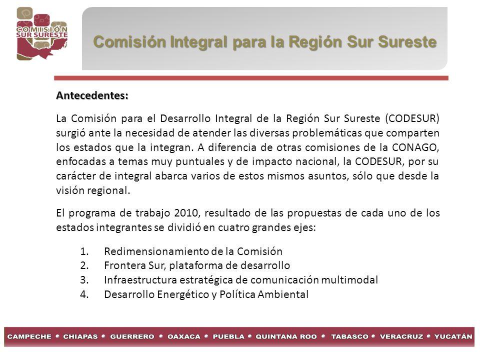 Comisión Integral para la Región Sur Sureste Antecedentes: La Comisión para el Desarrollo Integral de la Región Sur Sureste (CODESUR) surgió ante la n
