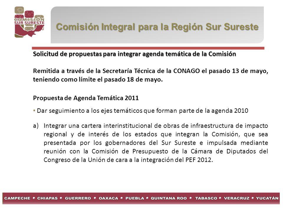 Comisión Integral para la Región Sur Sureste Solicitud de propuestas para integrar agenda temática de la Comisión Remitida a través de la Secretaría Técnica de la CONAGO el pasado 13 de mayo, teniendo como límite el pasado 18 de mayo.