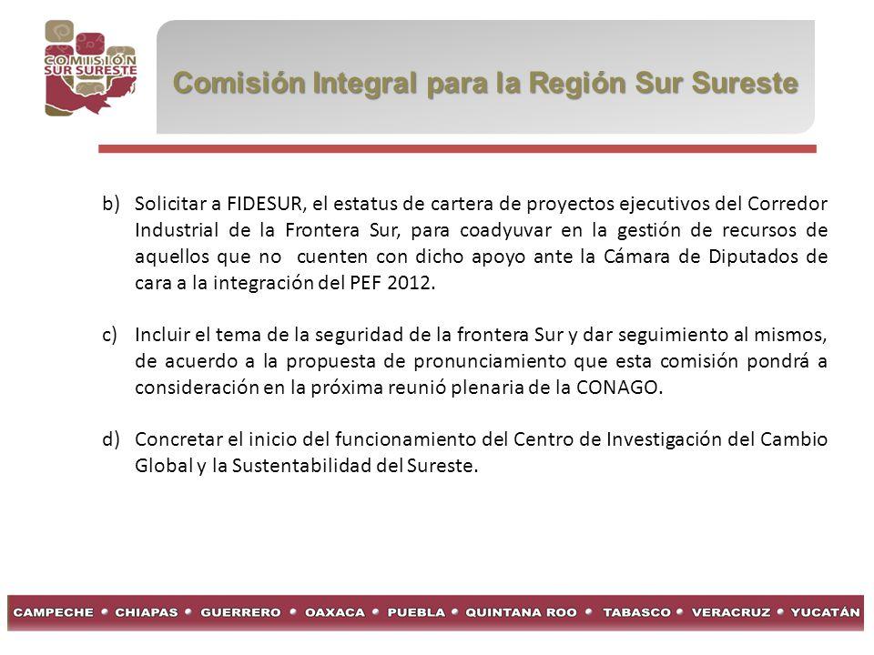 Comisión Integral para la Región Sur Sureste b)Solicitar a FIDESUR, el estatus de cartera de proyectos ejecutivos del Corredor Industrial de la Fronte
