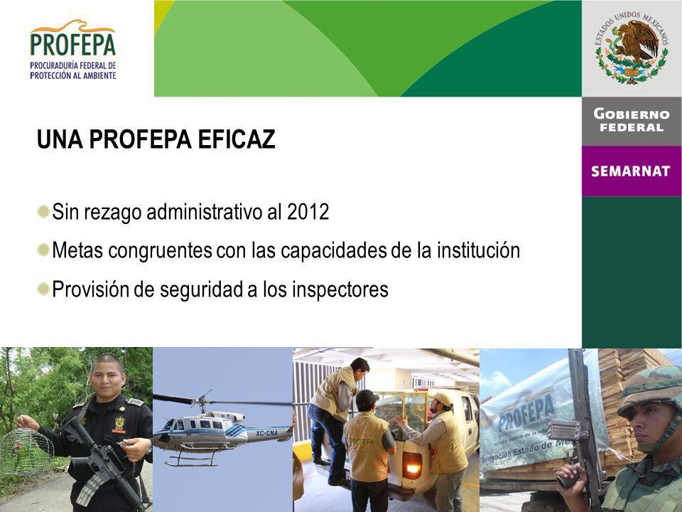 UNA PROFEPA EFICAZ Sin rezago administrativo al 2012 Metas congruentes con las capacidades de la institución Provisión de seguridad a los inspectores