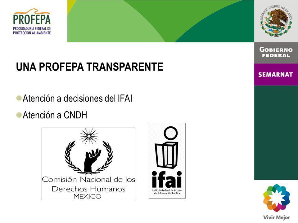 UNA PROFEPA TRANSPARENTE Atención a decisiones del IFAI Atención a CNDH