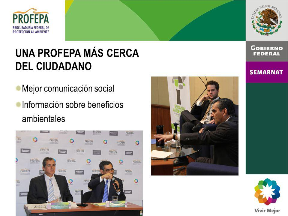 UNA PROFEPA MÁS CERCA DEL CIUDADANO Mejor comunicación social Información sobre beneficios ambientales
