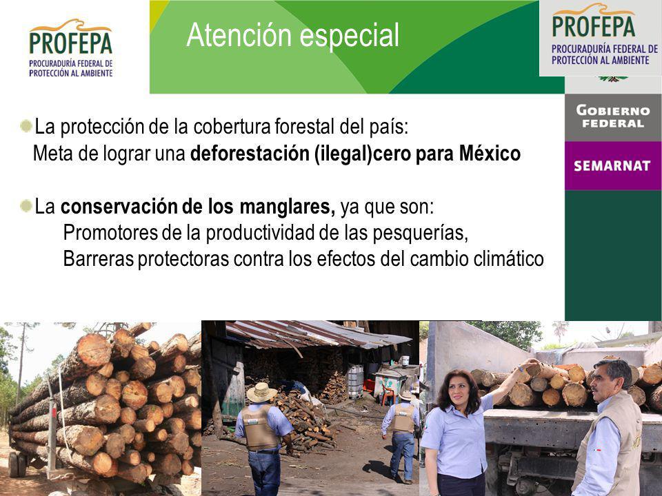 Atención especial La protección de la cobertura forestal del país: Meta de lograr una deforestación (ilegal)cero para México La conservación de los manglares, ya que son: Promotores de la productividad de las pesquerías, Barreras protectoras contra los efectos del cambio climático