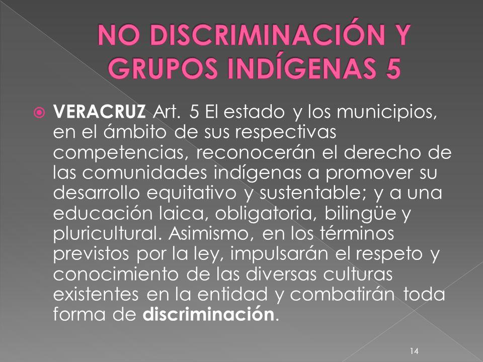 VERACRUZ Art. 5 El estado y los municipios, en el ámbito de sus respectivas competencias, reconocerán el derecho de las comunidades indígenas a promov
