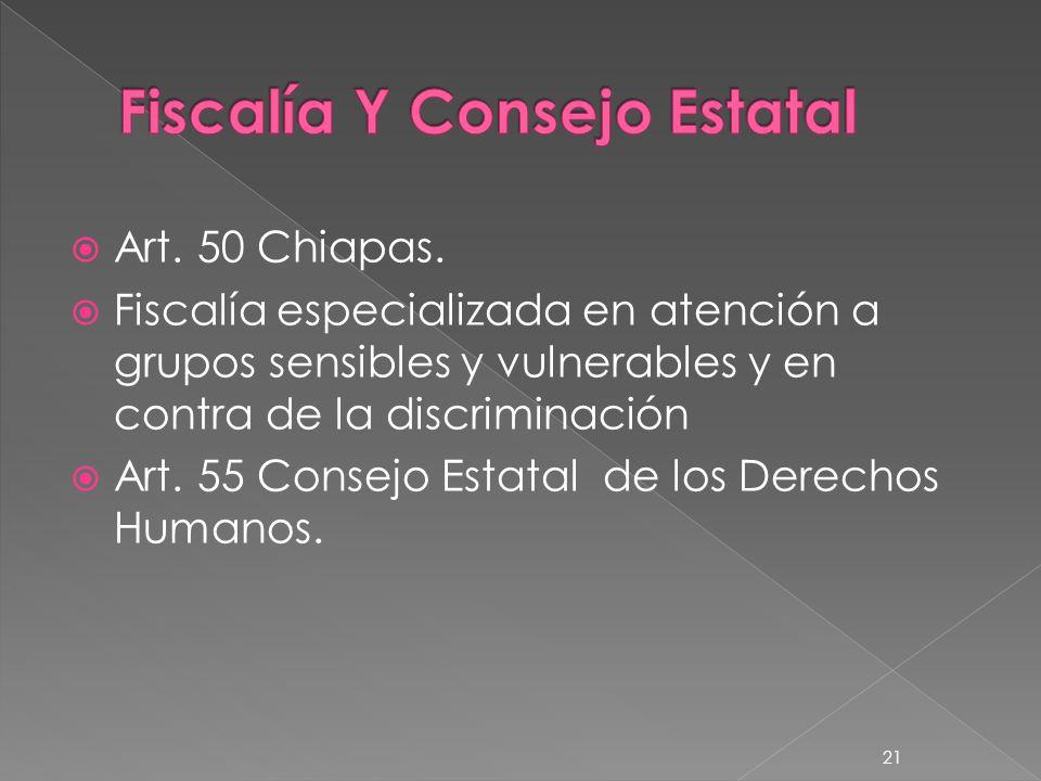 Art. 50 Chiapas. Fiscalía especializada en atención a grupos sensibles y vulnerables y en contra de la discriminación Art. 55 Consejo Estatal de los D