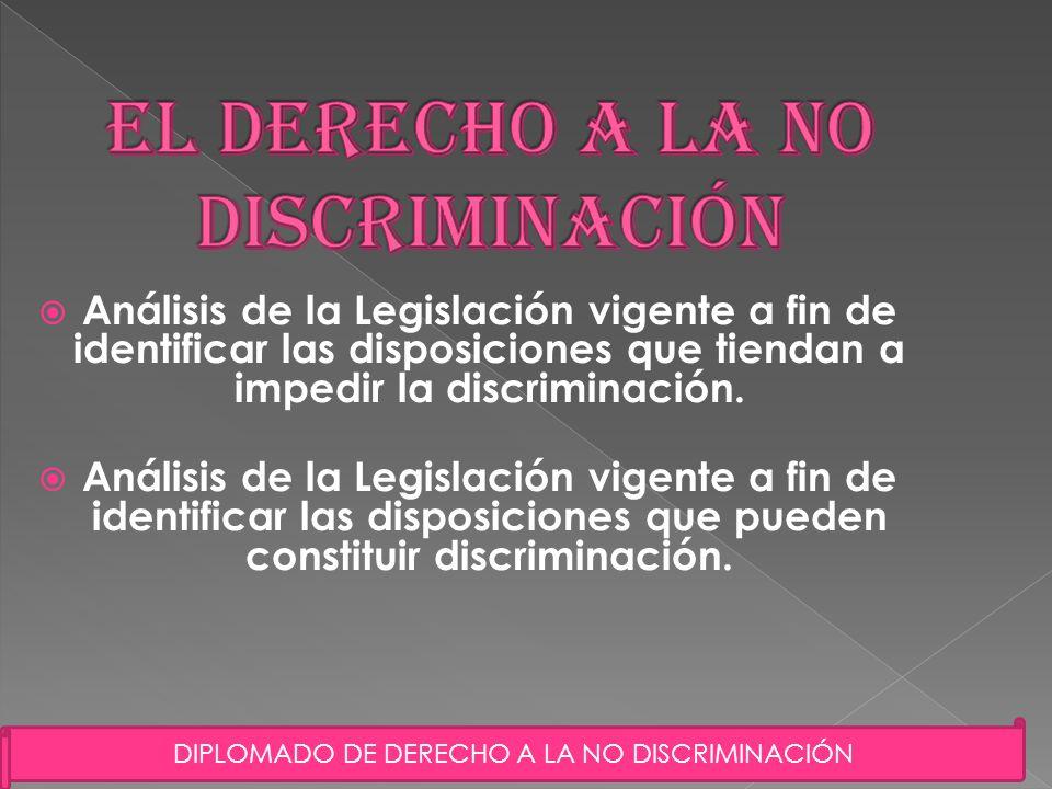 3 Análisis de la Legislación vigente a fin de identificar las disposiciones que tiendan a impedir la discriminación. Análisis de la Legislación vigent