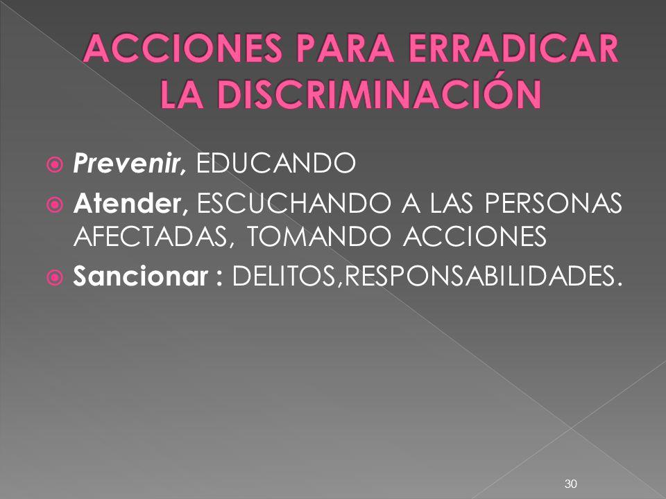 Prevenir, EDUCANDO Atender, ESCUCHANDO A LAS PERSONAS AFECTADAS, TOMANDO ACCIONES Sancionar : DELITOS,RESPONSABILIDADES. 30