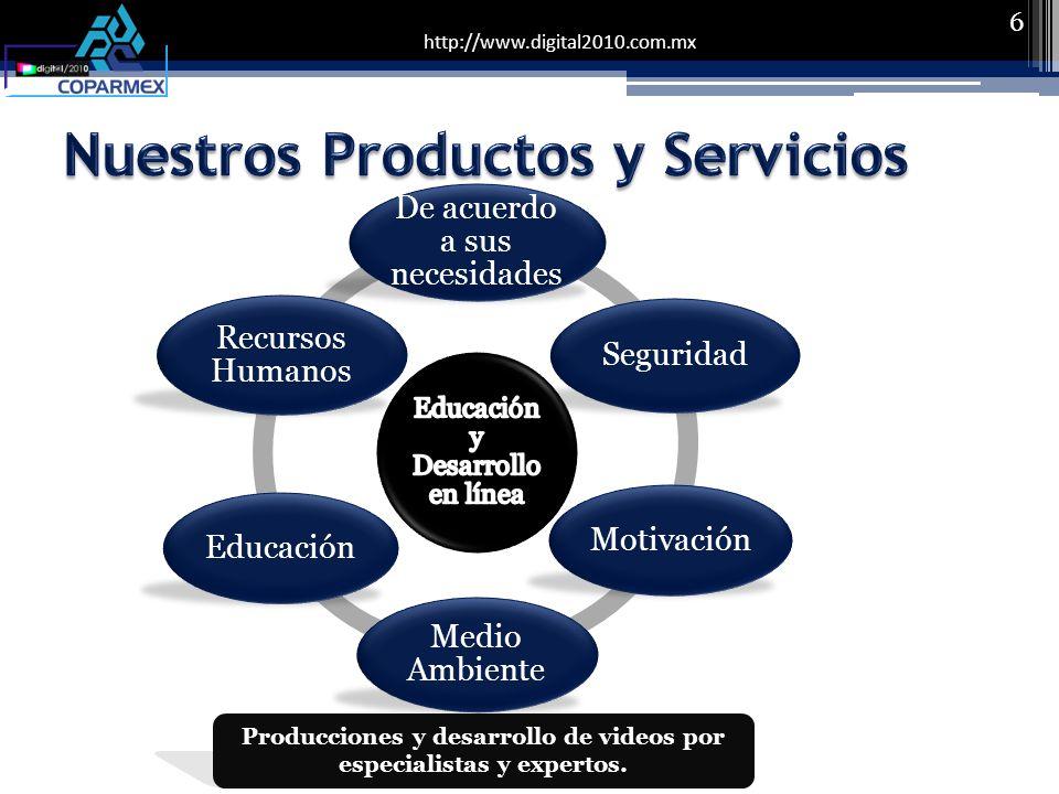 http://www.digital2010.com.mx 6 De acuerdo a sus necesidades Seguridad Motivación Medio Ambiente Educación Recursos Humanos Producciones y desarrollo de videos por especialistas y expertos.