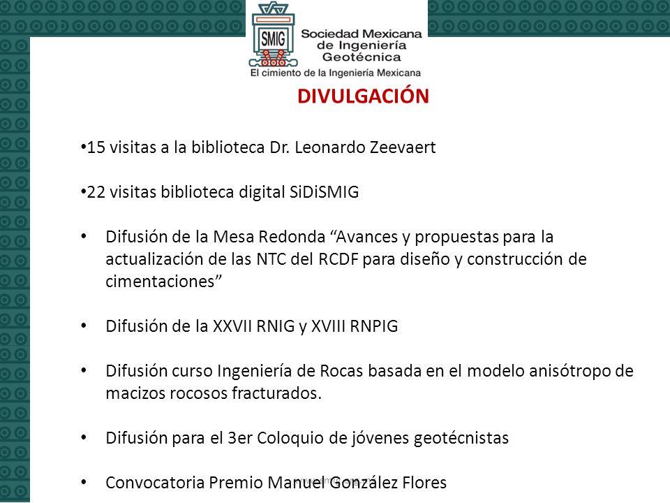 www.smig.org.mx DIVULGACIÓN 15 visitas a la biblioteca Dr.