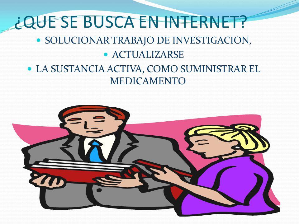 LAS IDEAS PRINCIPALES DEL INTERNET LOCALIZAR FACILMENTE INFORMACION REAL INVESTIGAR SOBRE TRATAMIENTOS Y MEDICAMENTOS