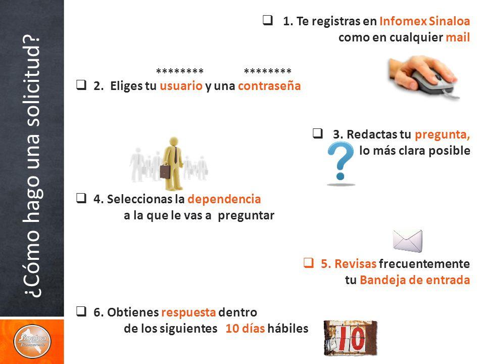 ¿Cómo hago una solicitud. 1. Te registras en Infomex Sinaloa como en cualquier mail 2.