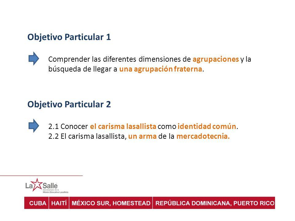 Objetivo Particular 1 Comprender las diferentes dimensiones de agrupaciones y la búsqueda de llegar a una agrupación fraterna. Objetivo Particular 2 2
