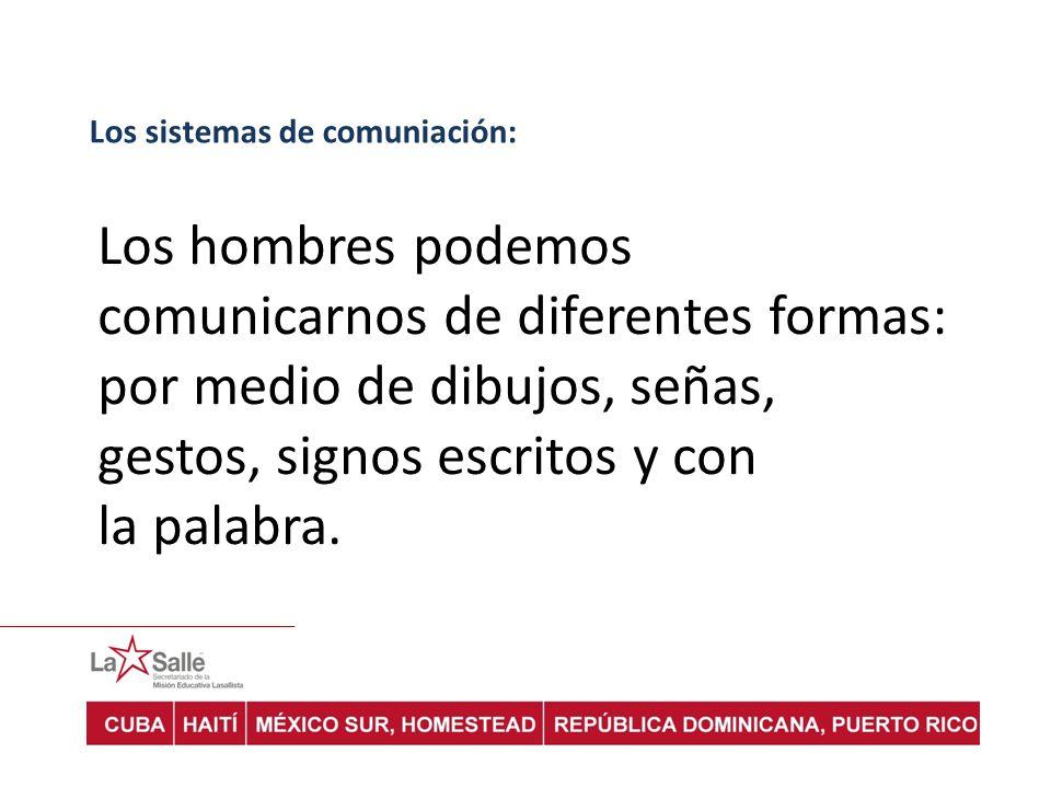 Los sistemas de comuniación: Los hombres podemos comunicarnos de diferentes formas: por medio de dibujos, señas, gestos, signos escritos y con la palabra.
