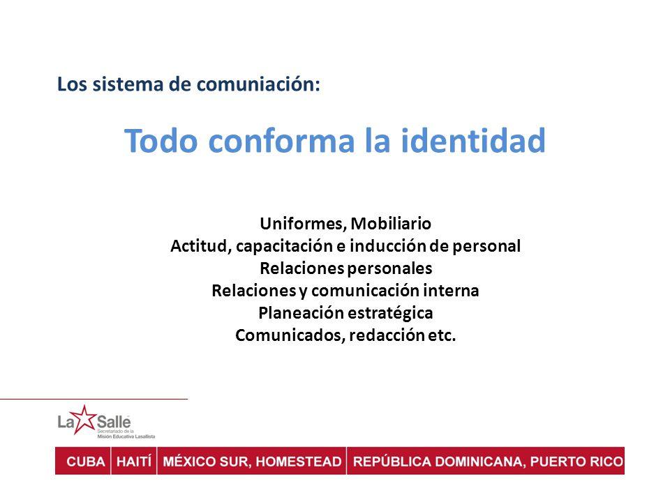 Los sistema de comuniación: Uniformes, Mobiliario Actitud, capacitación e inducción de personal Relaciones personales Relaciones y comunicación intern