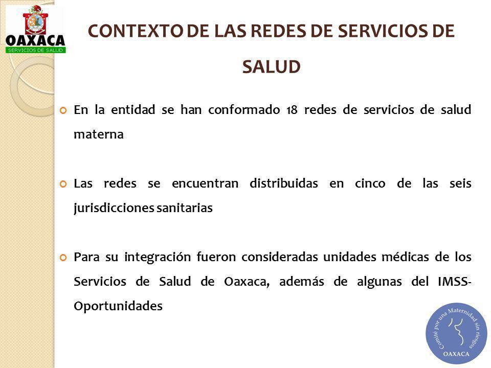 CONTEXTO DE LAS REDES DE SERVICIOS DE SALUD En la entidad se han conformado 18 redes de servicios de salud materna Las redes se encuentran distribuida