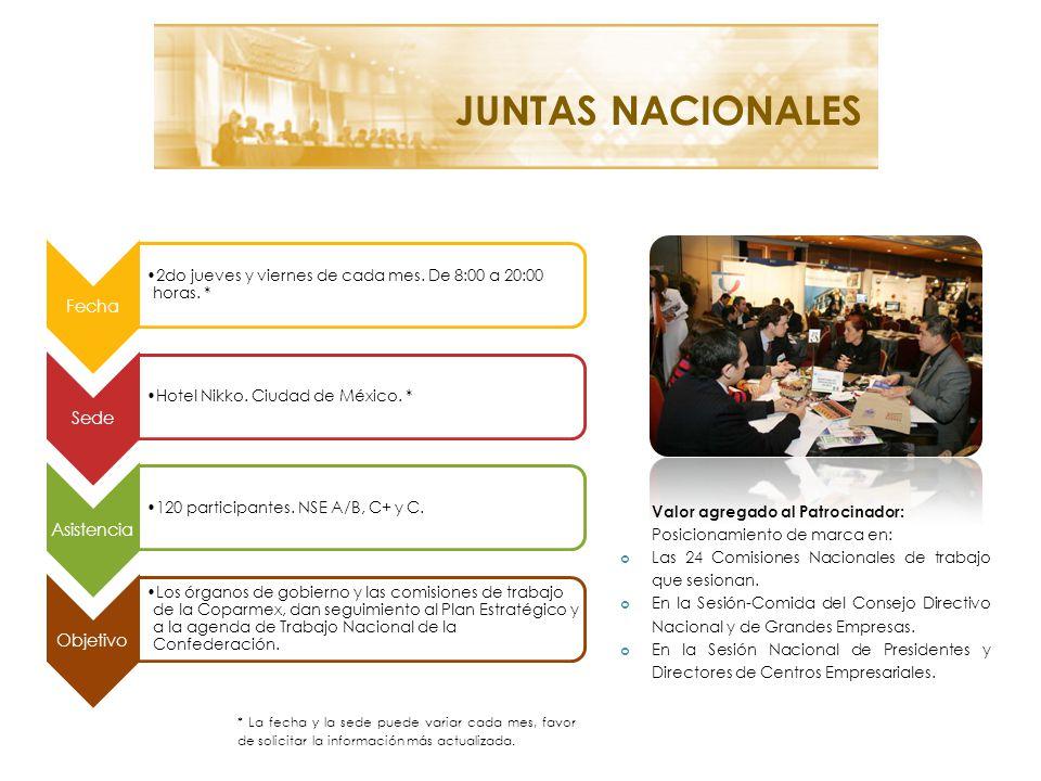 JUNTAS NACIONALES Valor agregado al Patrocinador: Posicionamiento de marca en: Las 24 Comisiones Nacionales de trabajo que sesionan.