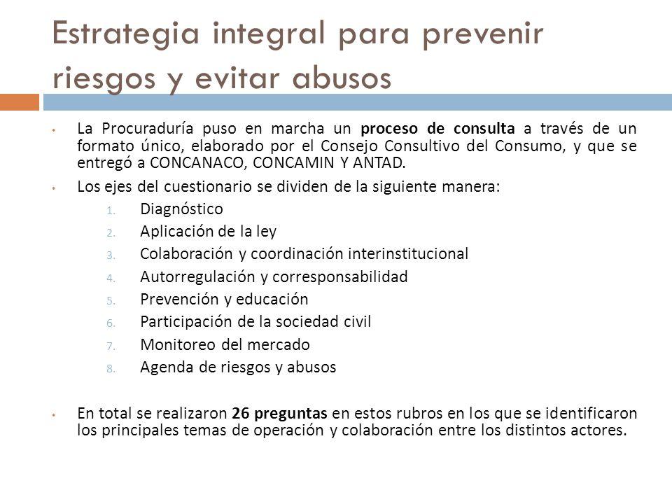 Estrategia integral para prevenir riesgos y evitar abusos La Procuraduría puso en marcha un proceso de consulta a través de un formato único, elaborado por el Consejo Consultivo del Consumo, y que se entregó a CONCANACO, CONCAMIN Y ANTAD.