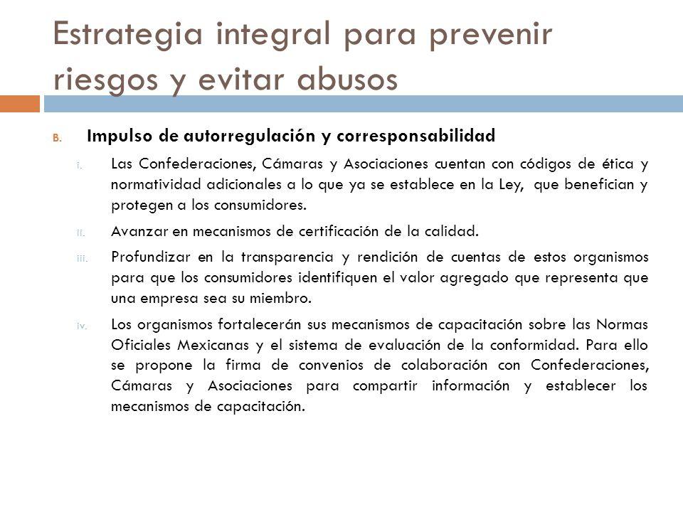 Estrategia integral para prevenir riesgos y evitar abusos B. Impulso de autorregulación y corresponsabilidad i. Las Confederaciones, Cámaras y Asociac