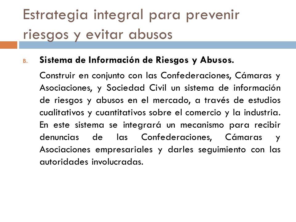 Estrategia integral para prevenir riesgos y evitar abusos B. Sistema de Información de Riesgos y Abusos. Construir en conjunto con las Confederaciones