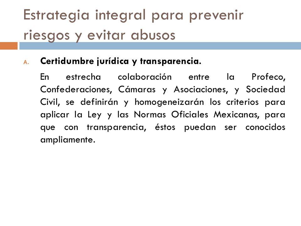 Estrategia integral para prevenir riesgos y evitar abusos A. Certidumbre jurídica y transparencia. En estrecha colaboración entre la Profeco, Confeder