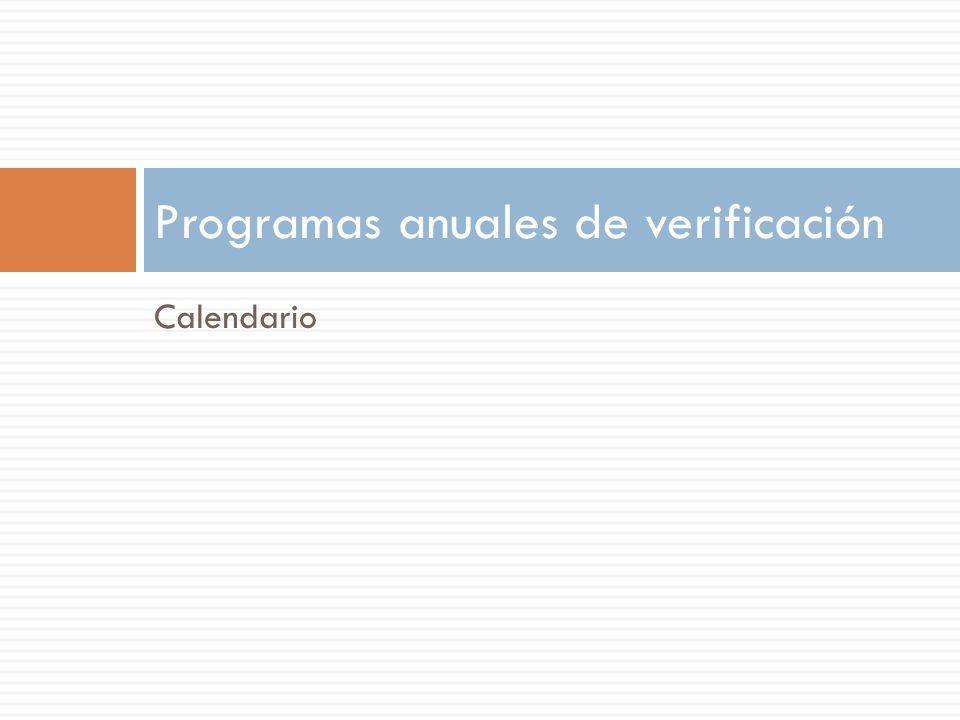Calendario Programas anuales de verificación