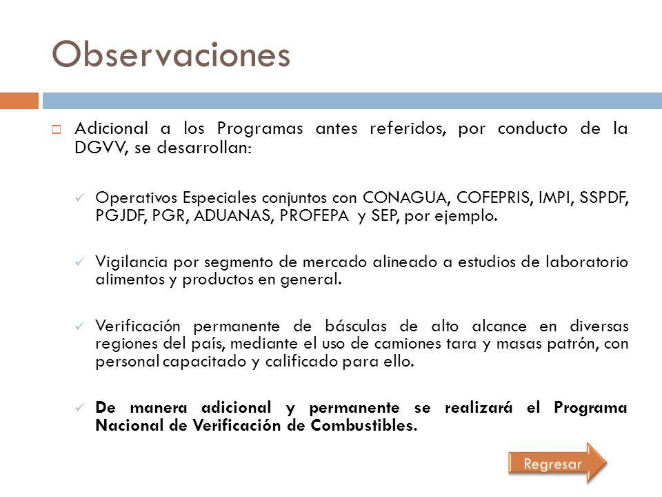 Observaciones Adicional a los Programas antes referidos, por conducto de la DGVV, se desarrollan: Operativos Especiales conjuntos con CONAGUA, COFEPRI
