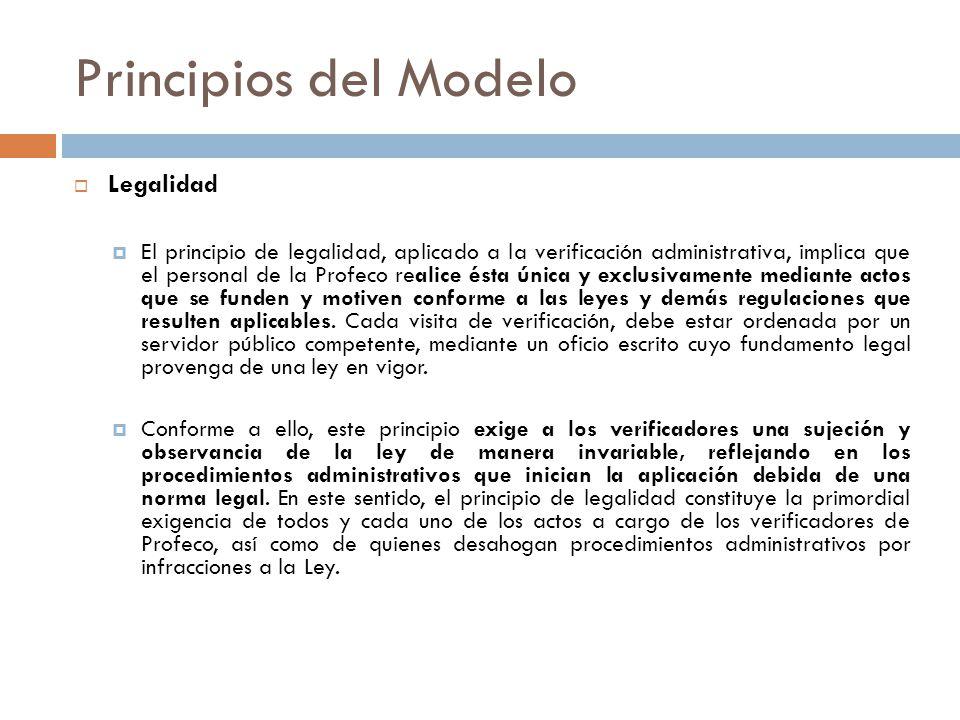 Legalidad El principio de legalidad, aplicado a la verificación administrativa, implica que el personal de la Profeco realice ésta única y exclusivame