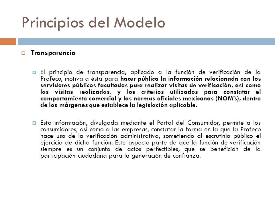 Principios del Modelo Transparencia El principio de transparencia, aplicado a la función de verificación de la Profeco, motiva a ésta para hacer públi