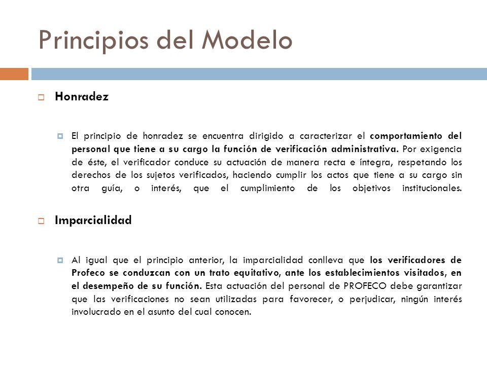 Principios del Modelo Honradez El principio de honradez se encuentra dirigido a caracterizar el comportamiento del personal que tiene a su cargo la función de verificación administrativa.