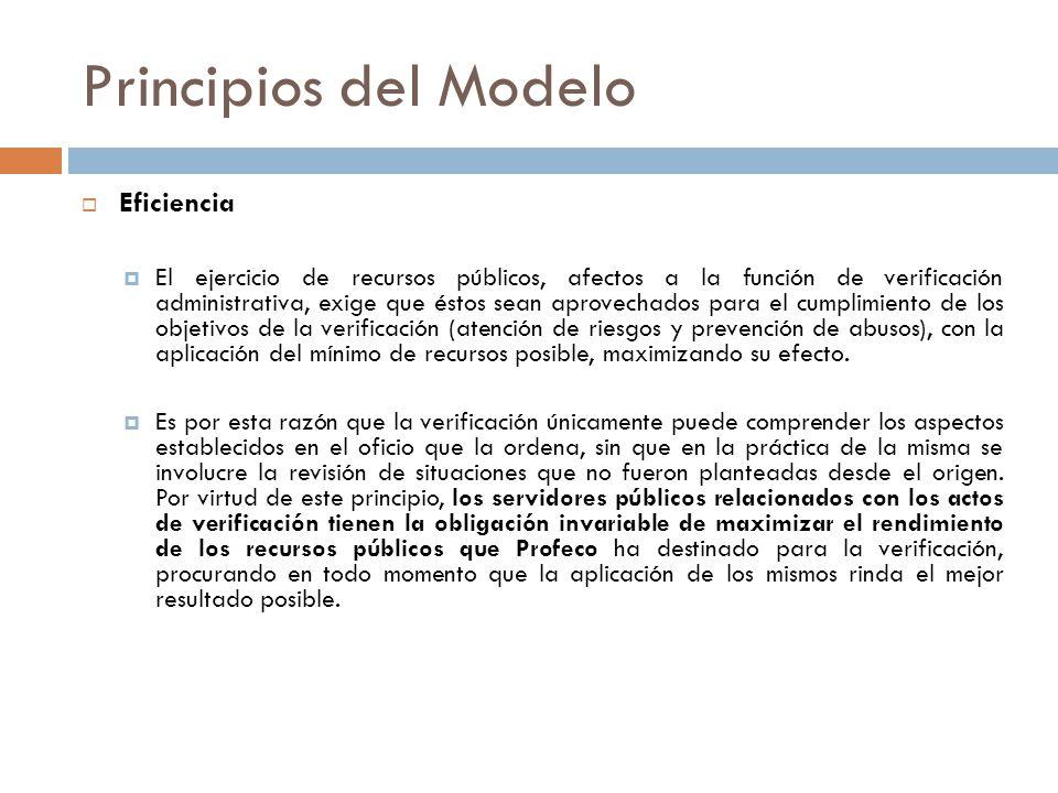 Principios del Modelo Eficiencia El ejercicio de recursos públicos, afectos a la función de verificación administrativa, exige que éstos sean aprovech