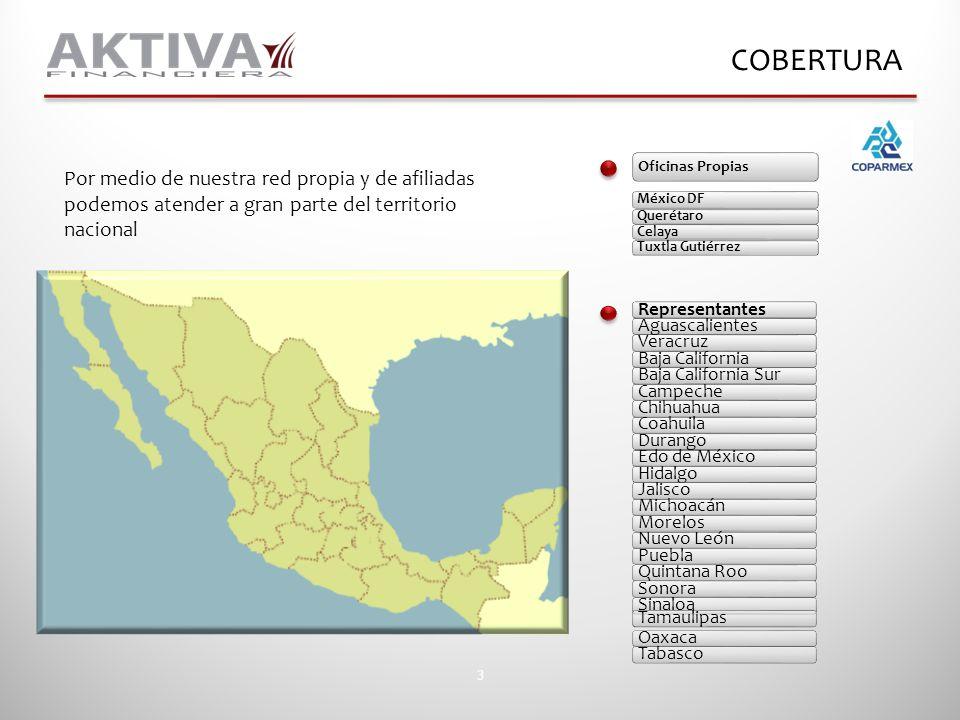3 COBERTURA Por medio de nuestra red propia y de afiliadas podemos atender a gran parte del territorio nacional RepresentantesAguascalientesVeracruzBa