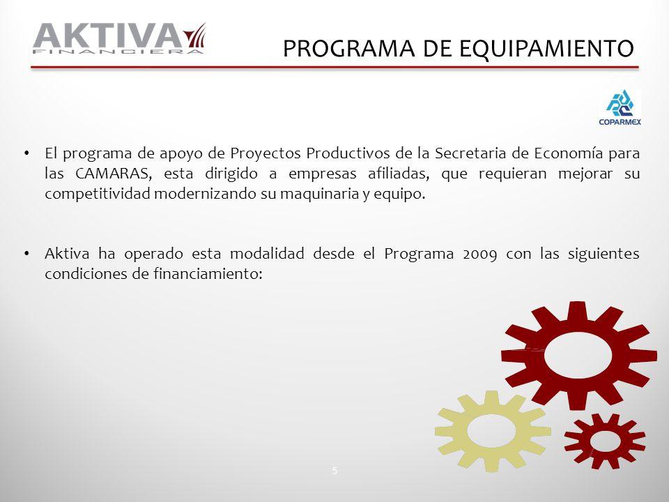 5 PROGRAMA DE EQUIPAMIENTO El programa de apoyo de Proyectos Productivos de la Secretaria de Economía para las CAMARAS, esta dirigido a empresas afili