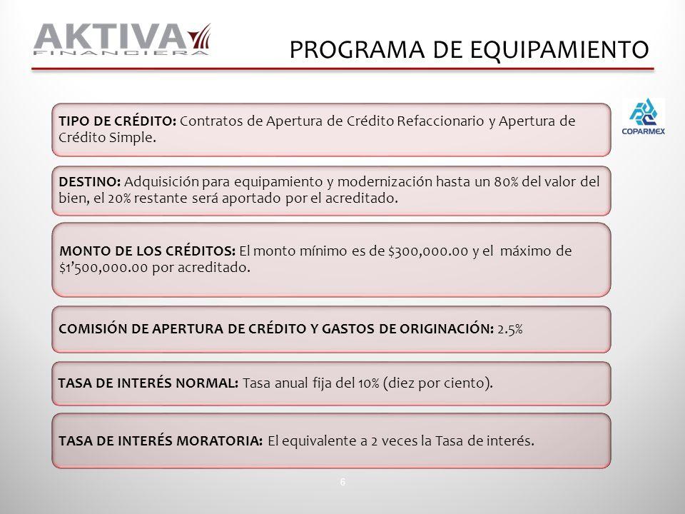 TIPO DE CRÉDITO: Contratos de Apertura de Crédito Refaccionario y Apertura de Crédito Simple. MONTO DE LOS CRÉDITOS: El monto mínimo es de $300,000.00
