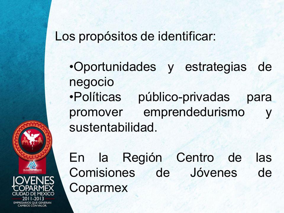 Los propósitos de identificar: Oportunidades y estrategias de negocio Políticas público-privadas para promover emprendedurismo y sustentabilidad.