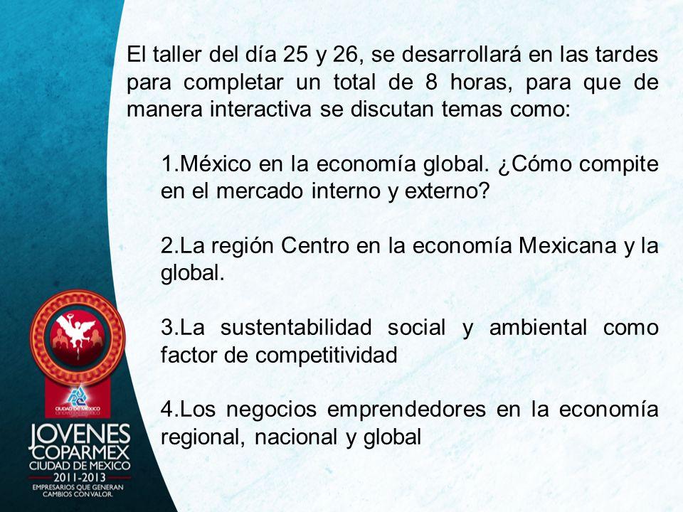 El taller del día 25 y 26, se desarrollará en las tardes para completar un total de 8 horas, para que de manera interactiva se discutan temas como: 1.México en la economía global.