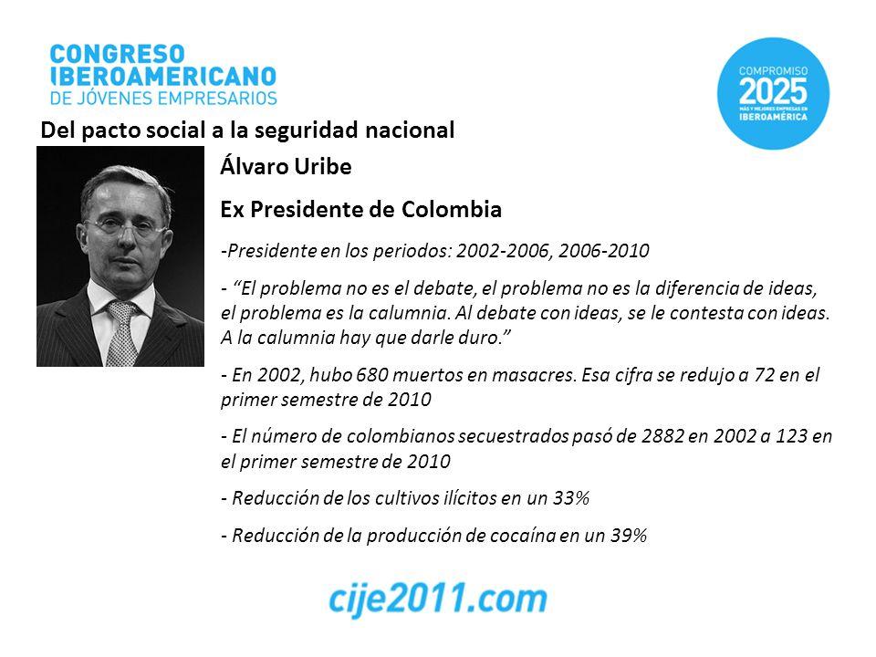 Álvaro Uribe Ex Presidente de Colombia -Presidente en los periodos: 2002-2006, 2006-2010 - El problema no es el debate, el problema no es la diferenci