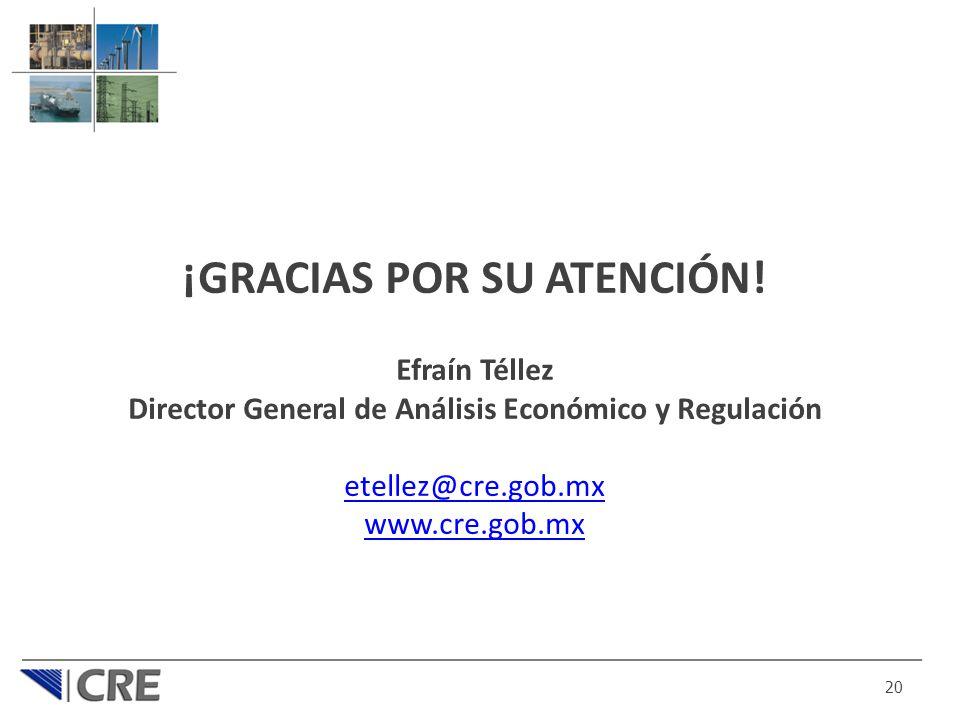 ¡GRACIAS POR SU ATENCIÓN! Efraín Téllez Director General de Análisis Económico y Regulación etellez@cre.gob.mx www.cre.gob.mx 20