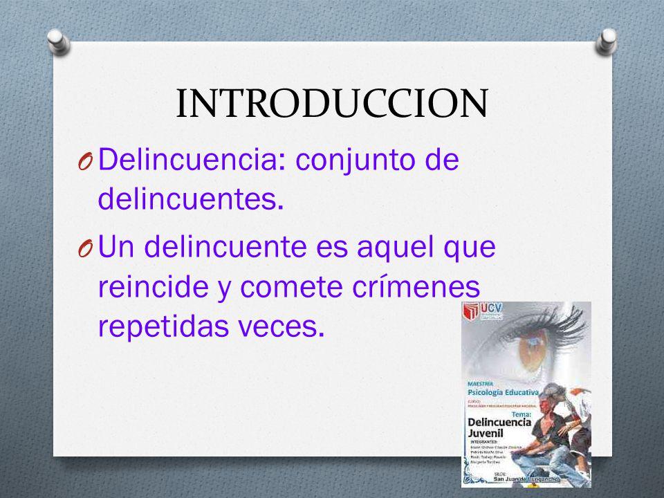 INTRODUCCION O Delincuencia: conjunto de delincuentes.