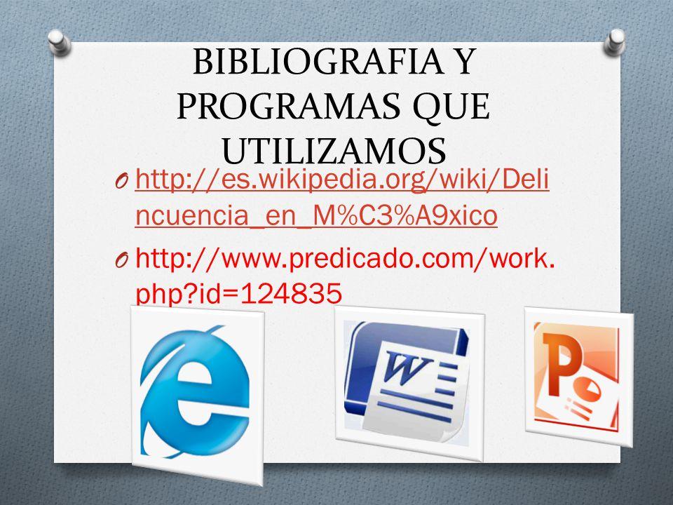 BIBLIOGRAFIA Y PROGRAMAS QUE UTILIZAMOS O http://es.wikipedia.org/wiki/Deli ncuencia_en_M%C3%A9xico http://es.wikipedia.org/wiki/Deli ncuencia_en_M%C3%A9xico O http://www.predicado.com/work.