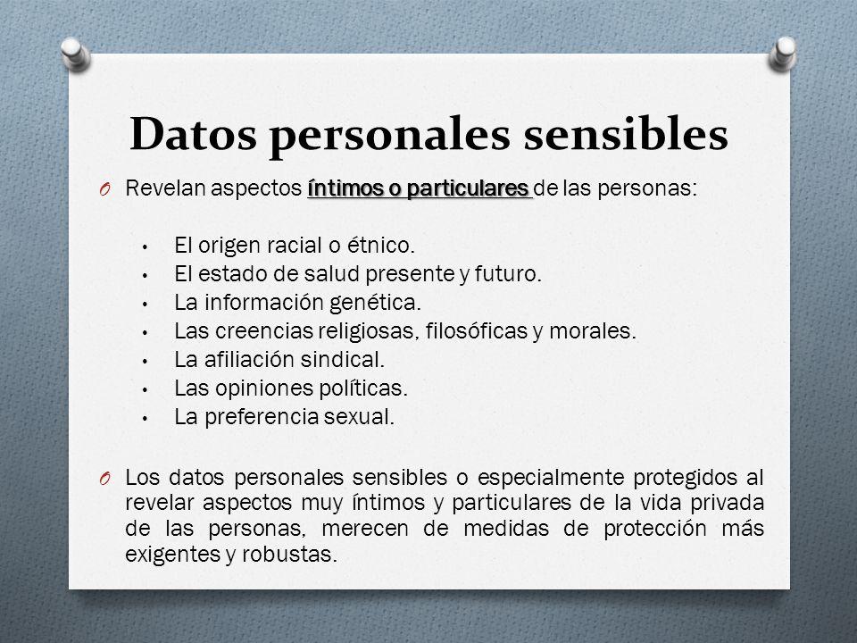 Datos personales sensibles íntimos o particulares O Revelan aspectos íntimos o particulares de las personas: El origen racial o étnico.