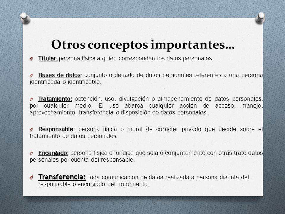 Otros conceptos importantes… O Titular: O Titular: persona física a quien corresponden los datos personales.
