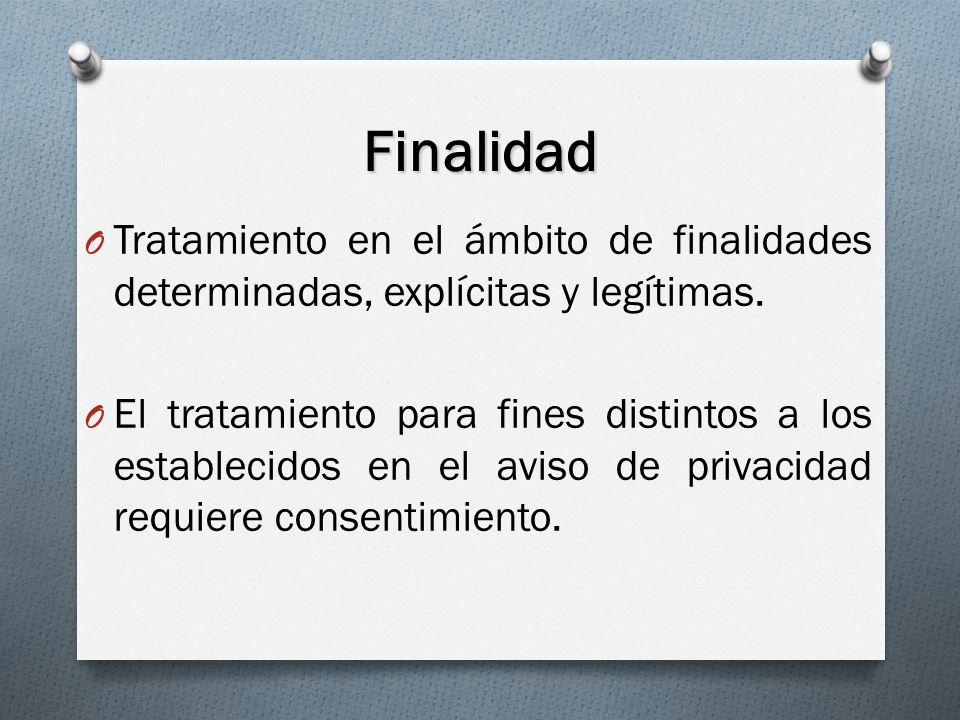 Finalidad O Tratamiento en el ámbito de finalidades determinadas, explícitas y legítimas.